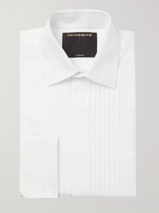 Favourbrook White Eton Slim-Fit Bib-Front Double-Cuff Cotton-Poplin Tuxedo Shirt