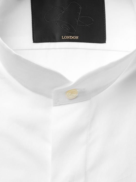 Favourbrook White Grandad-Collar Cotton-Poplin Shirt
