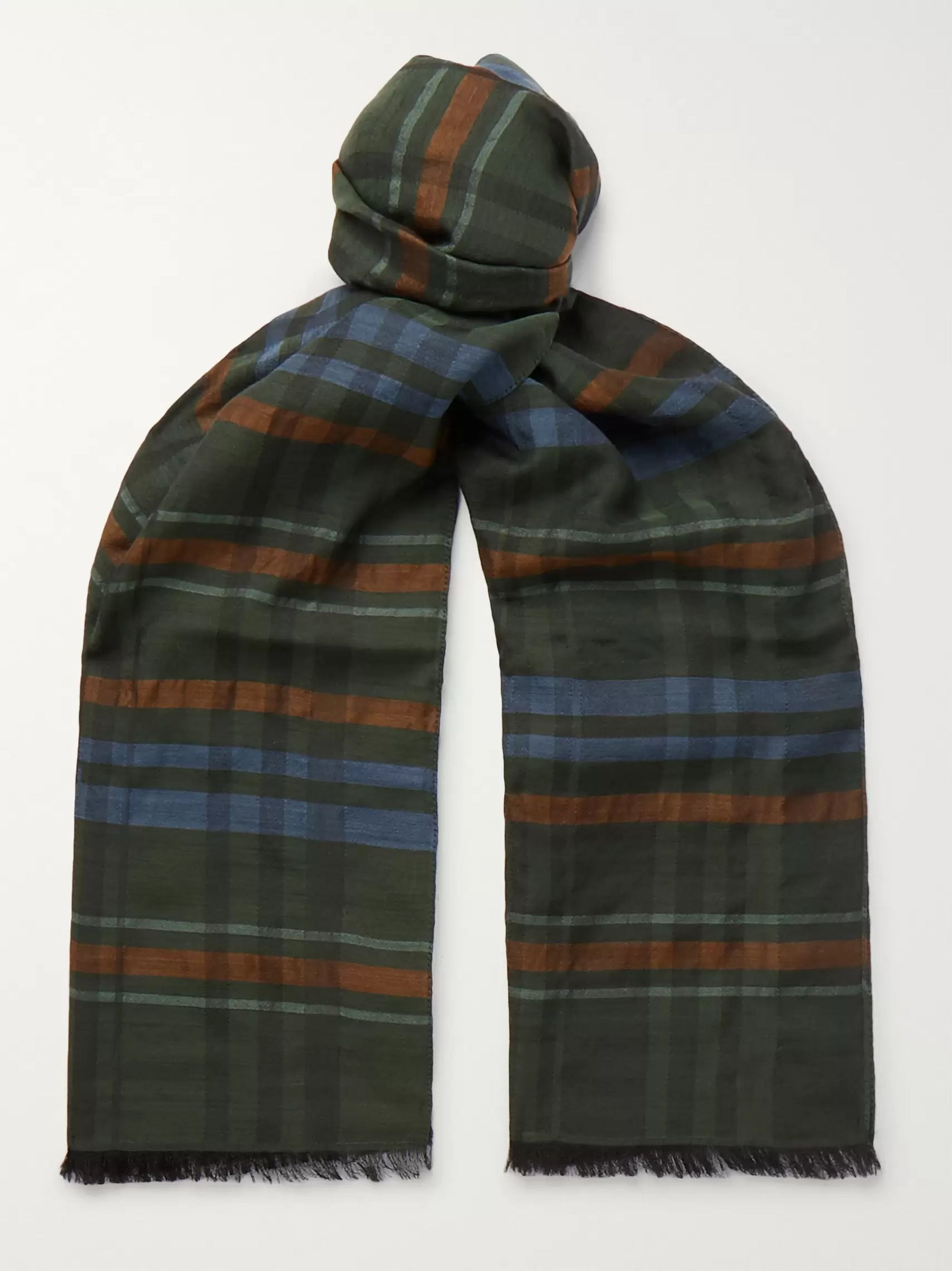 Favourbrook Striped Virgin Wool and Silk-Blend Scarf