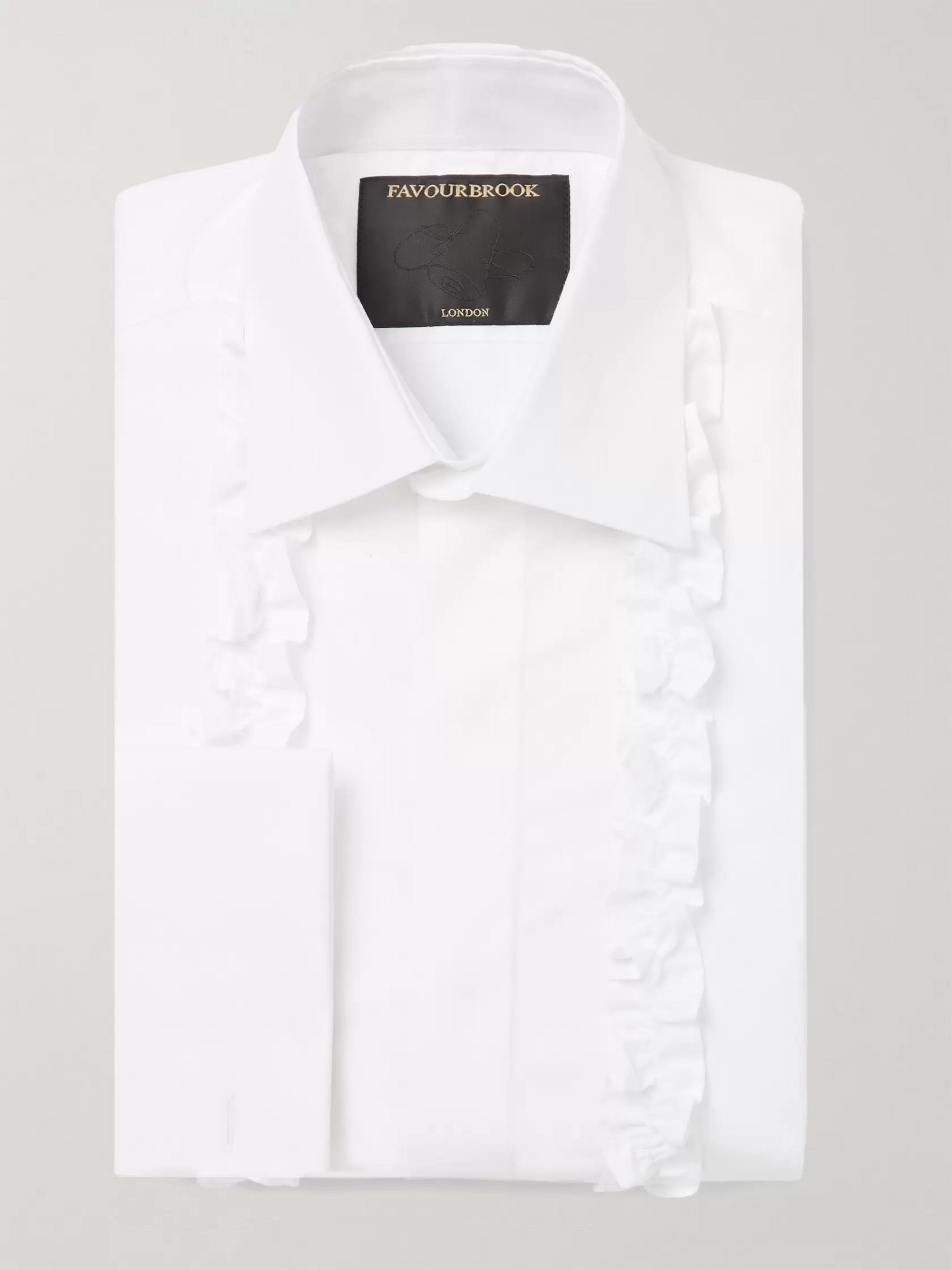 Favourbrook White Slim-Fit Ruffled Double-Cuff Cotton-Poplin Tuxedo Shirt
