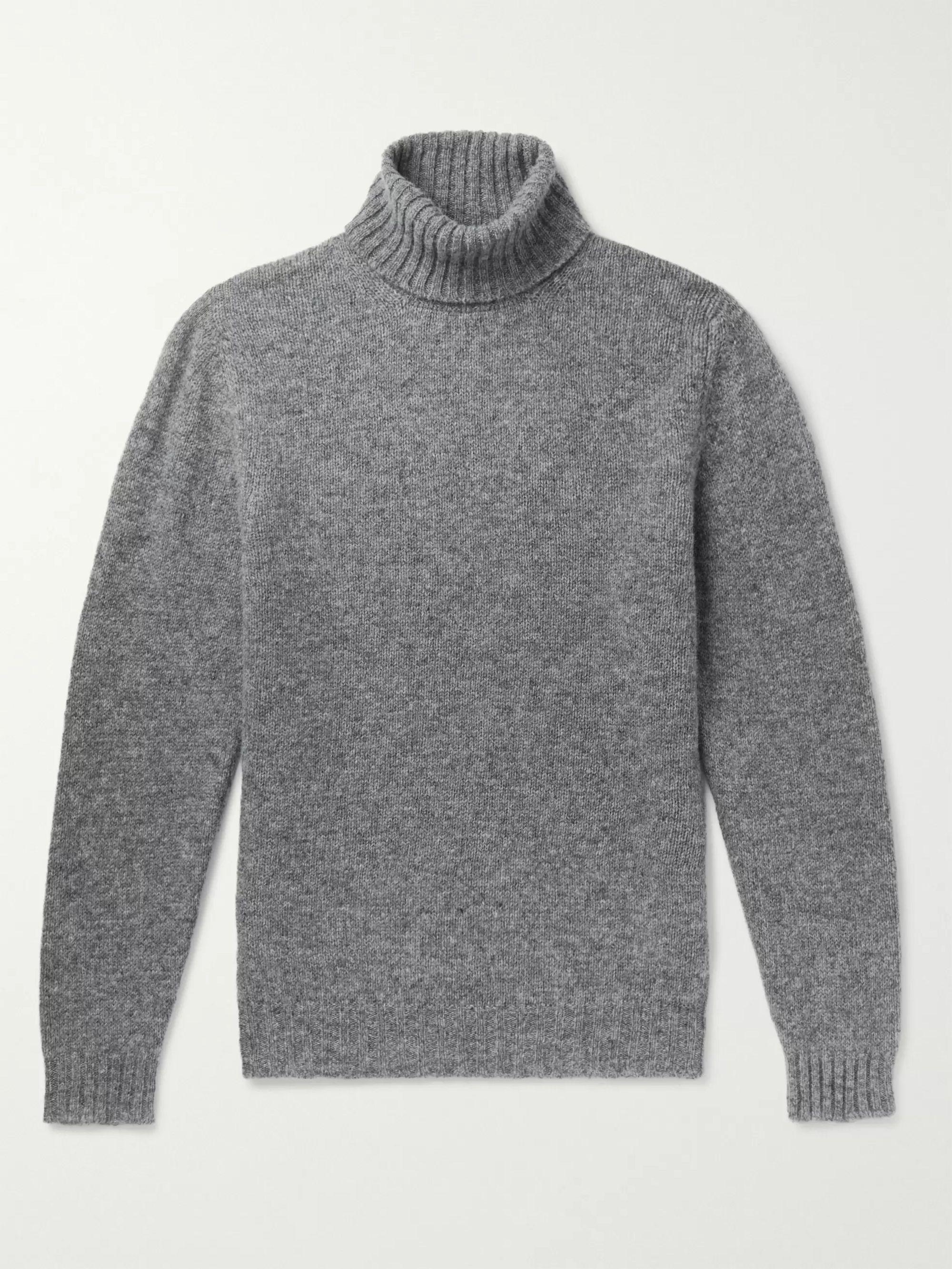 Mélange Shetland Wool Rollneck Sweater by Man 1924