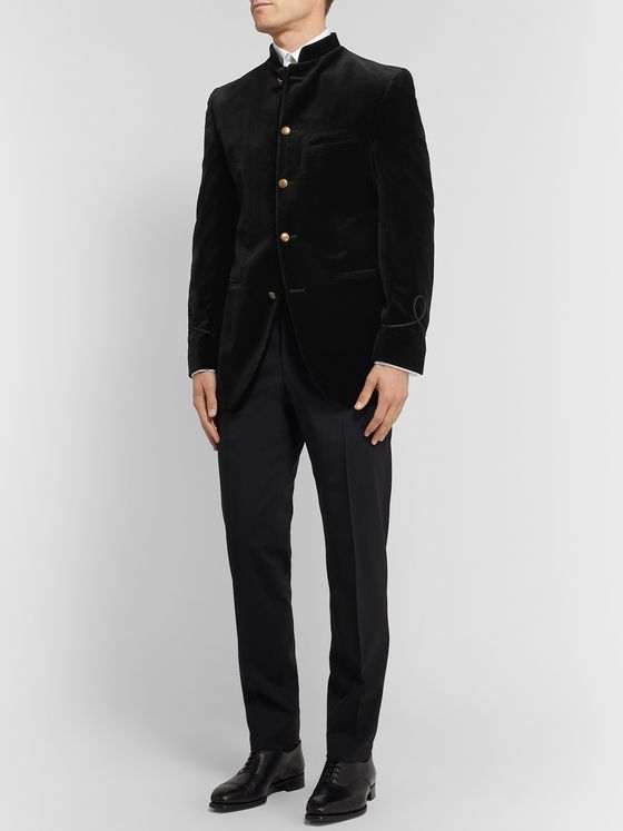 Favourbrook Black Slim-Fit Nehru-Collar Cotton-Velvet Jacket
