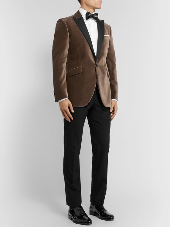 Favourbrook Brown Slim-Fit Faille-Trimmed Cotton-Velvet Tuxedo Jacket