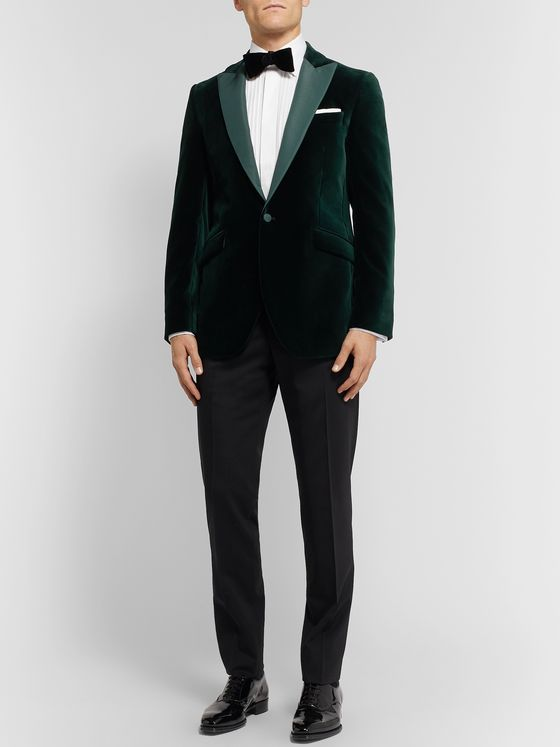 Favourbrook Dark-Green Slim-Fit Faille-Trimmed Cotton-Velvet Tuxedo Jacket
