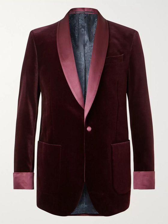 Favourbrook Burgundy Slim-Fit Satin-Trimmed Cotton-Velvet Tuxedo Jacket