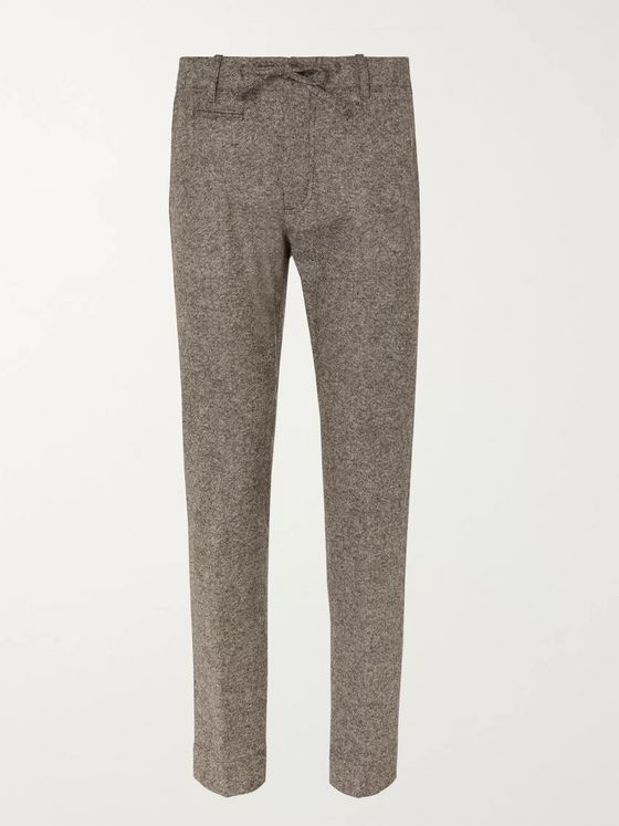 MAN 1924 Beige Tomi Slim-Fit Tapered Mélange Wool Suit Trousers
