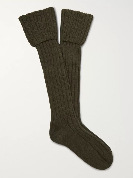 Emma Willis Cable-Knit Stretch Cashmere-Blend Socks
