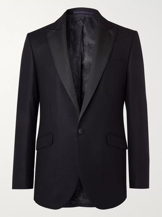 Favourbrook Midnight-Blue Slim-Fit Davenport Silk and Wool-Blend Jacquard Tuxedo Jacket