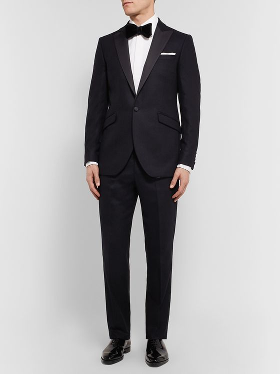Favourbrook Navy Slim-Fit Satin-Trimmed Cotton-Velvet Tuxedo Jacket