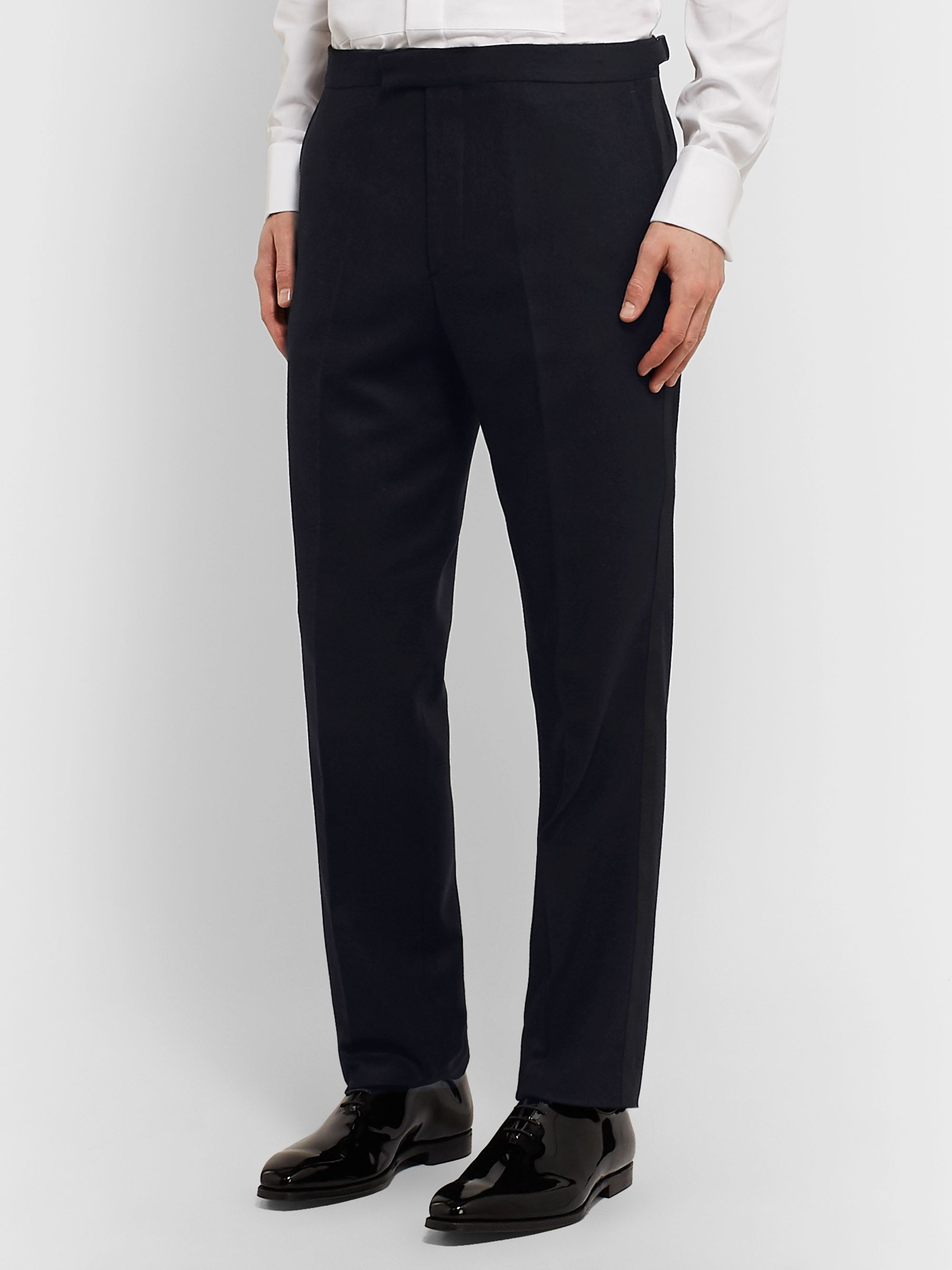 Favourbrook Black Grosgrain-Trimmed Wool-Twill Tuxedo Trousers