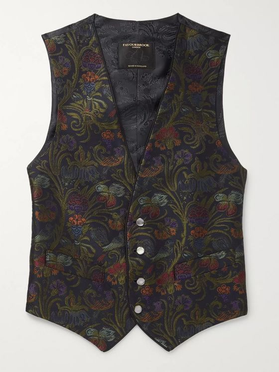Favourbrook Navy Grosgrain-Trimmed Cotton-Velvet Waistcoat