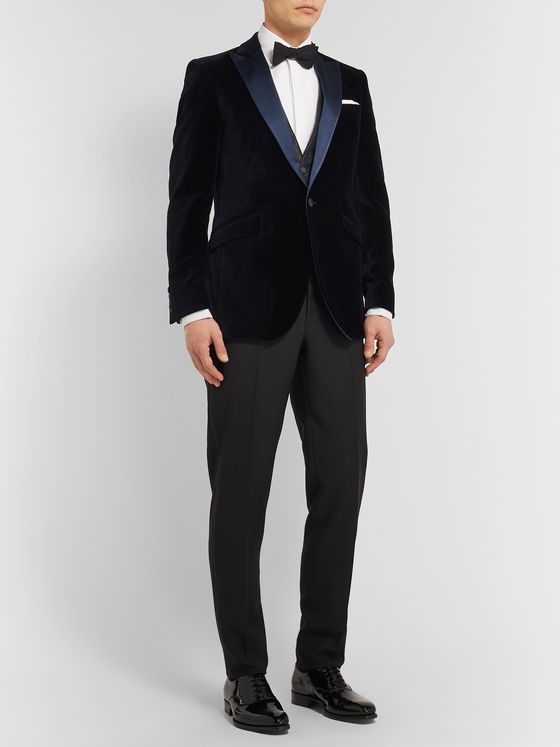 Favourbrook Midnight-Blue Davenport Grosgrain-Trimmed Silk and Wool-Blend Jacquard Waistcoat