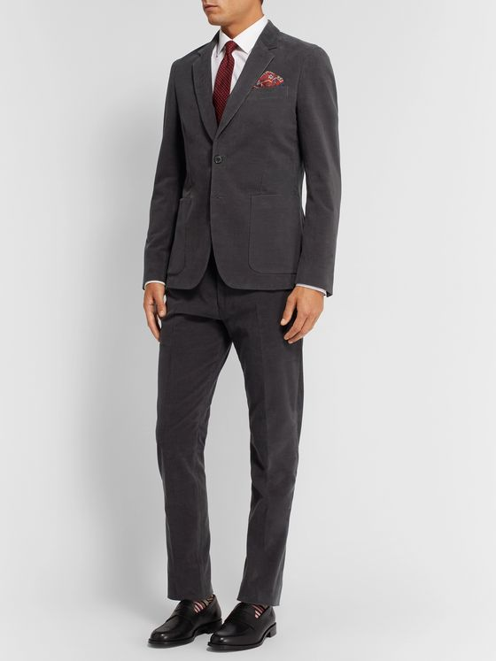 Paul Smith Grey Slim-Fit Cotton-Corduroy Suit Jacket