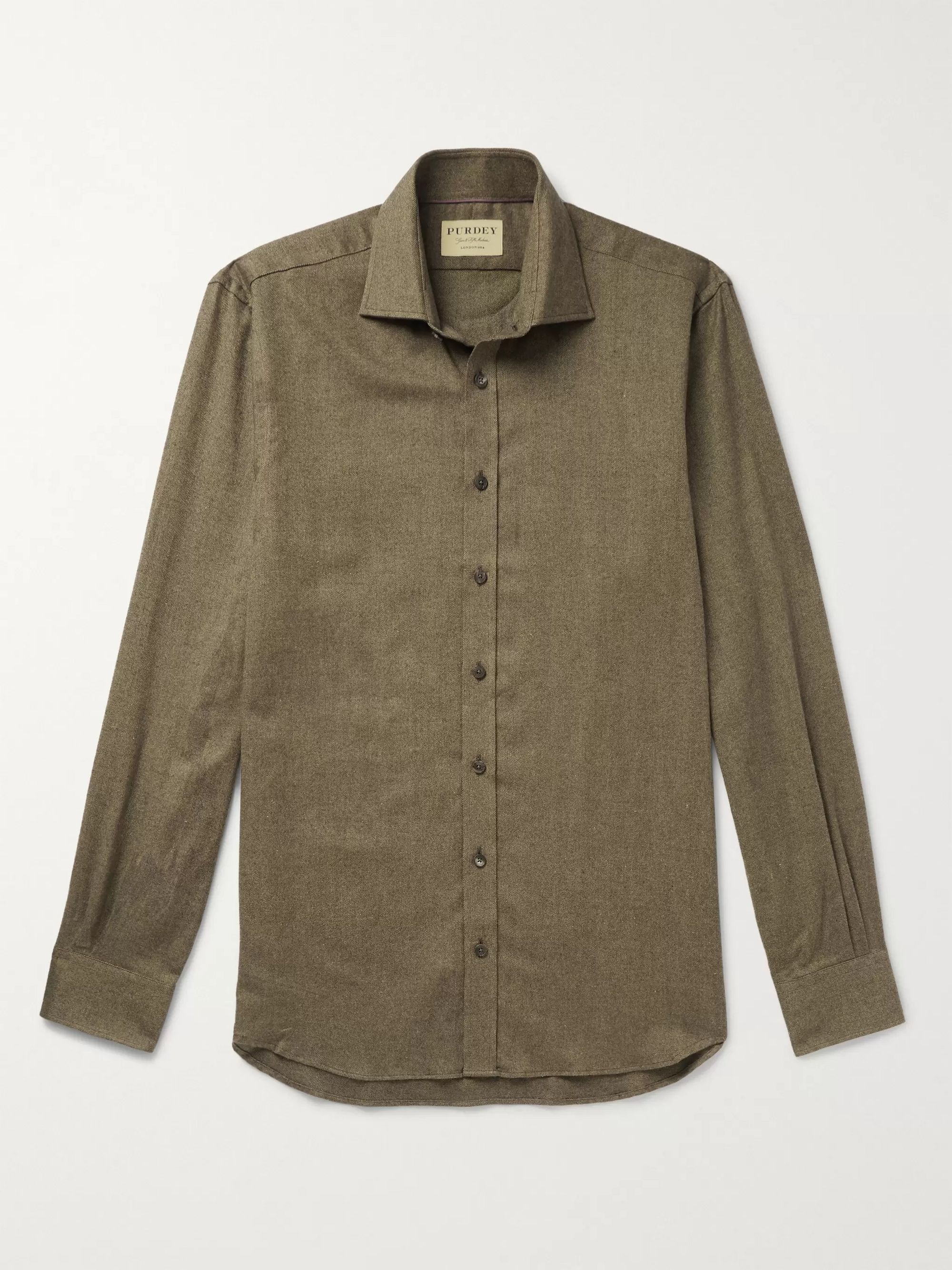 James Purdey & Sons Herringbone Brushed-Cotton Shirt