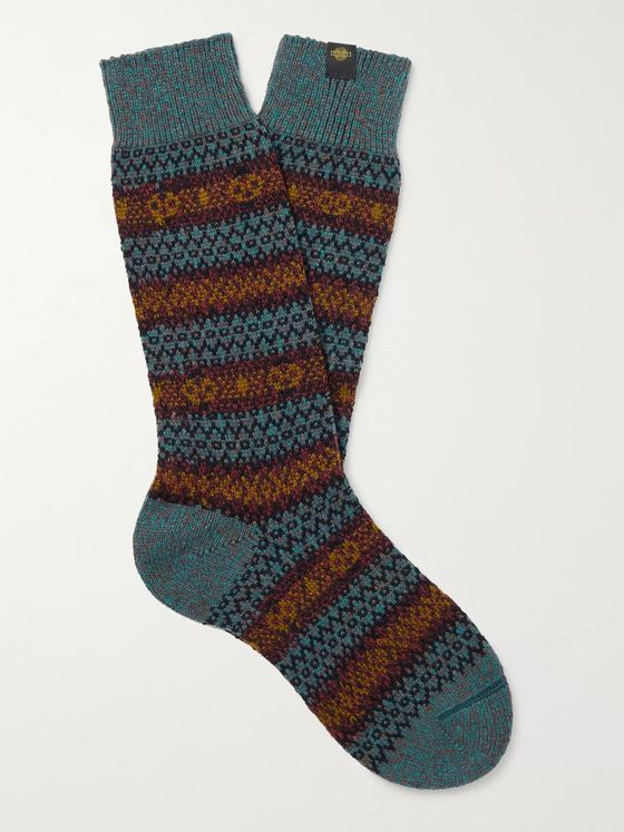 Purdey Fair Isle Wool-Blend Jacquard Socks