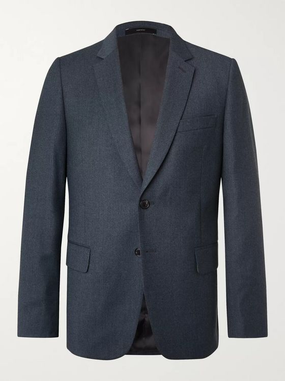 Paul Smith Blue Slim-Fit Wool and Cashmere-Blend Flannel Suit Jacket