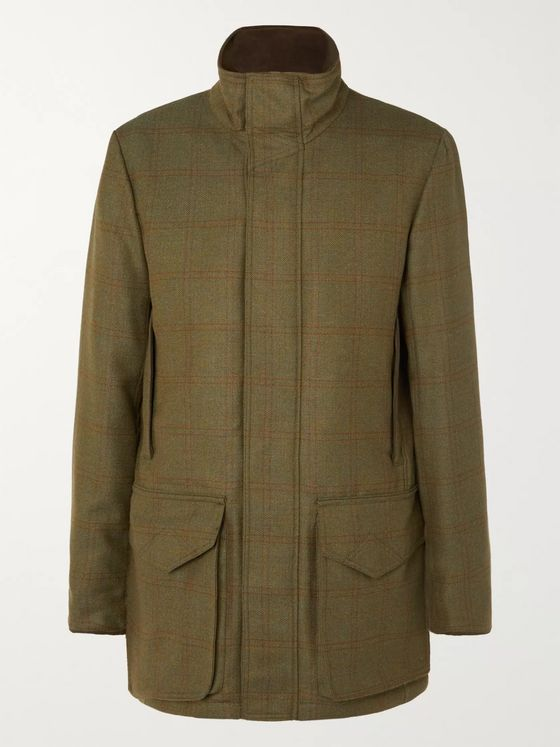 Purdey Checked Herringbone Wool-Blend Tweed Coat