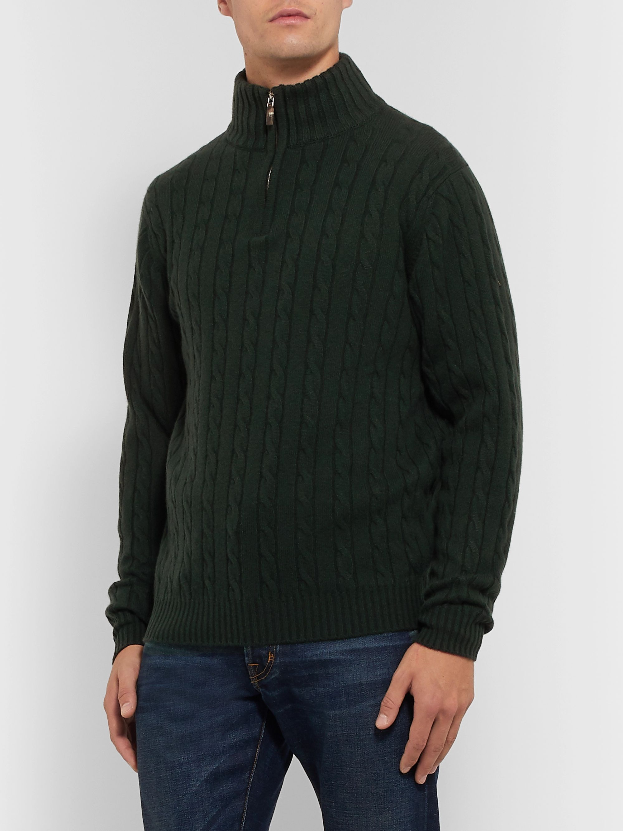James Purdey & Sons Hammersmith Cable-Knit Cashmere Half-Zip Sweater