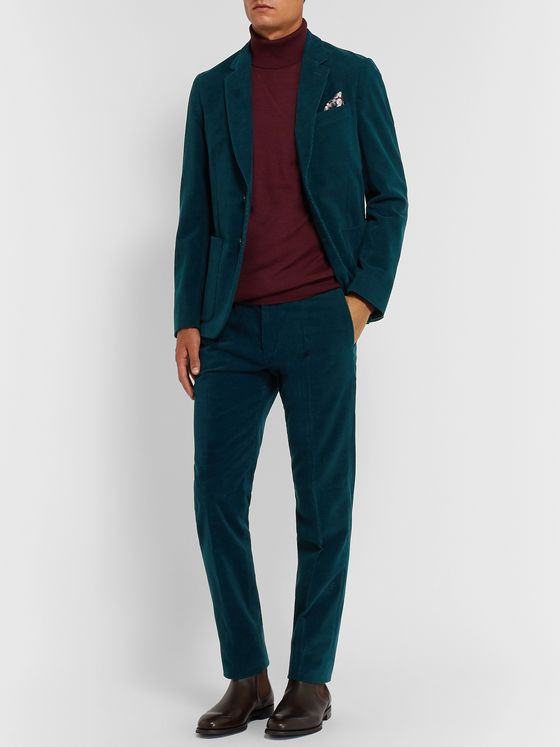 Paul Smith Grey Slim-Fit Cotton and Cashmere-Blend Corduroy Trousers
