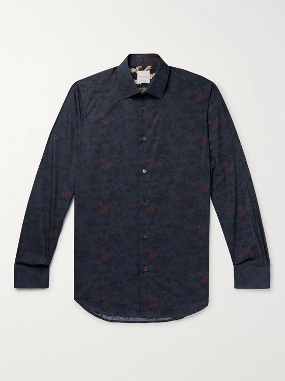 Paul Smith Slim-Fit Floral-Print Cotton-Poplin Shirt