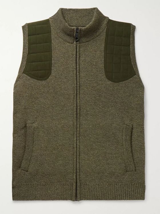 James Purdey & Sons Faux Suede-Trimmed Mélange Merino Wool Gilet