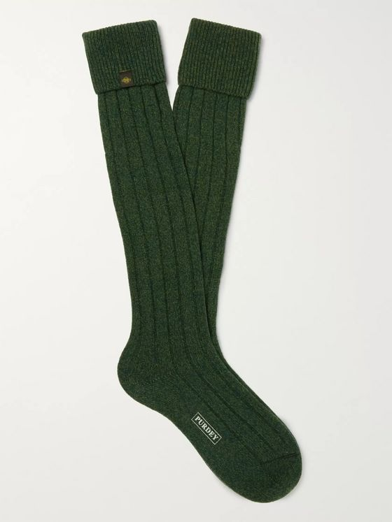 Purdey Ribbed Mélange Wool-Blend Socks