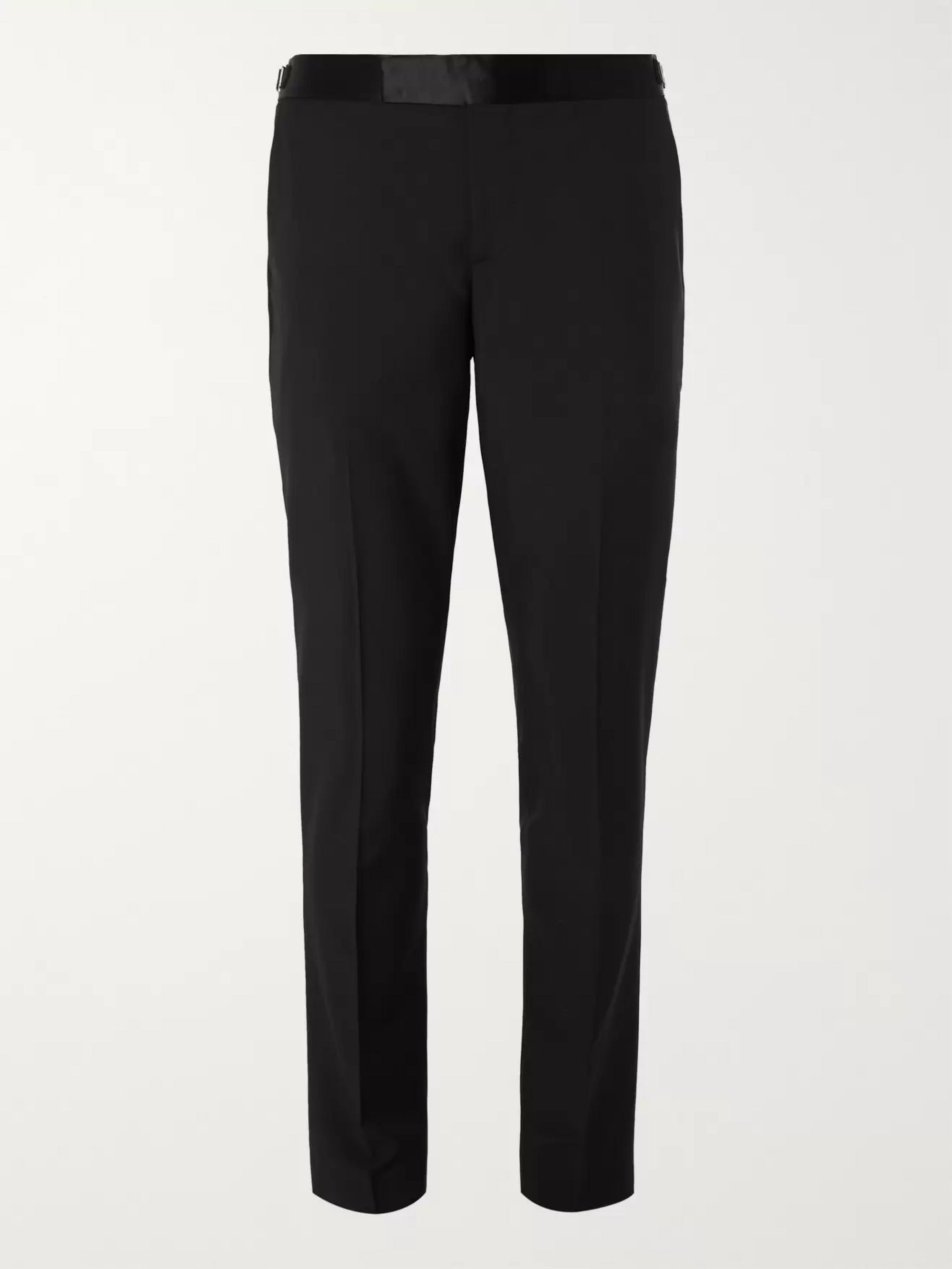 Paul Smith Black Soho Slim-Fit Satin-Trimmed Wool and Mohair-Blend Suit Trousers