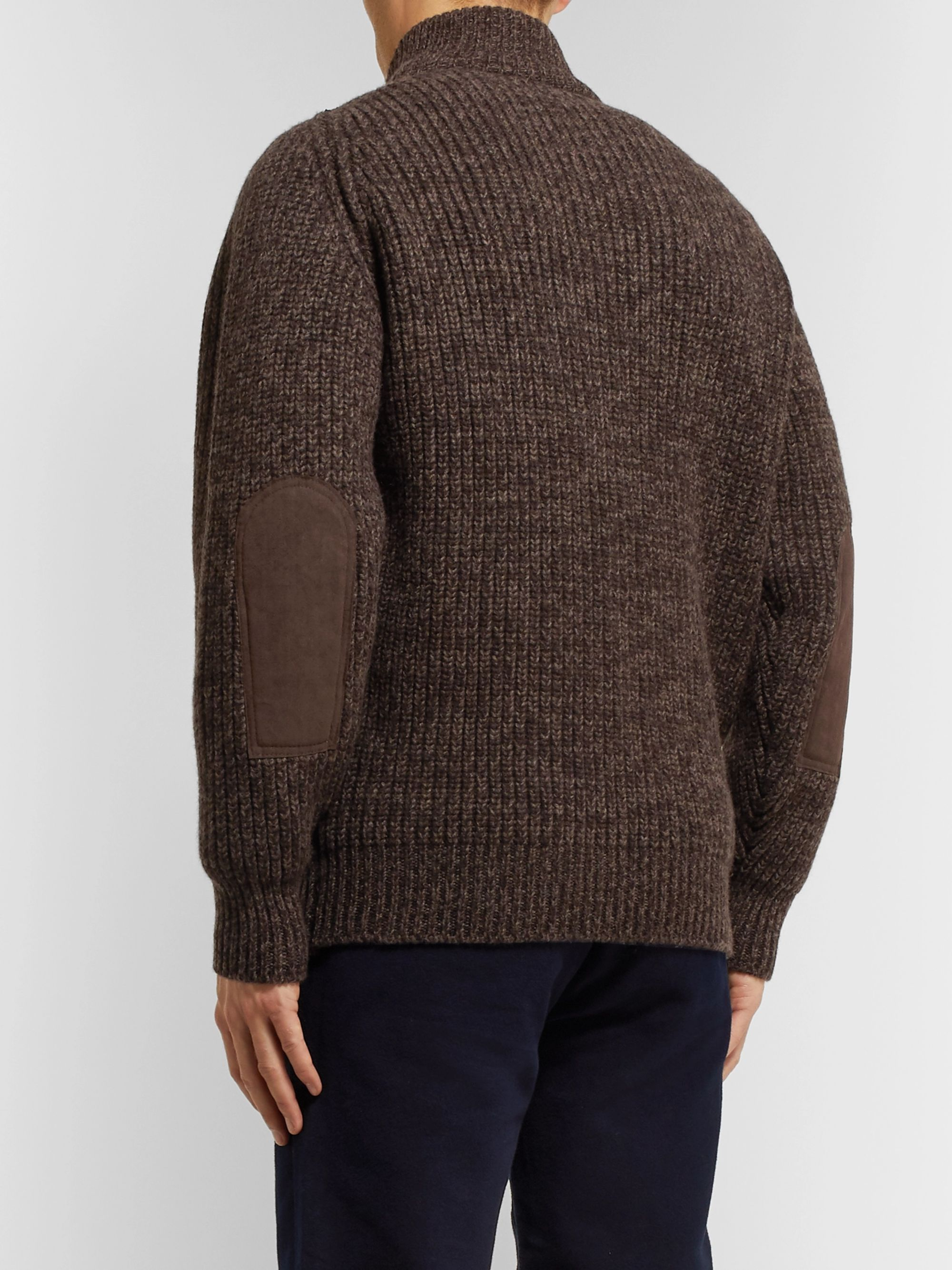 Purdey Suede-Trimmed Ribbed Wool Zip-Up Sweater