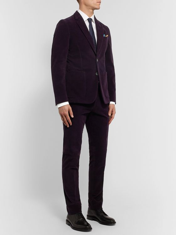 PAUL SMITH Aubergine Slim-Fit Cotton and Cashmere-Blend Corduroy Suit Trousers