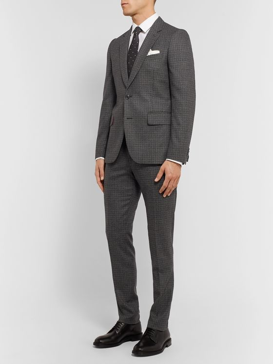 Paul Smith Charcoal Slim-Fit Puppytooth Wool Suit Trousers
