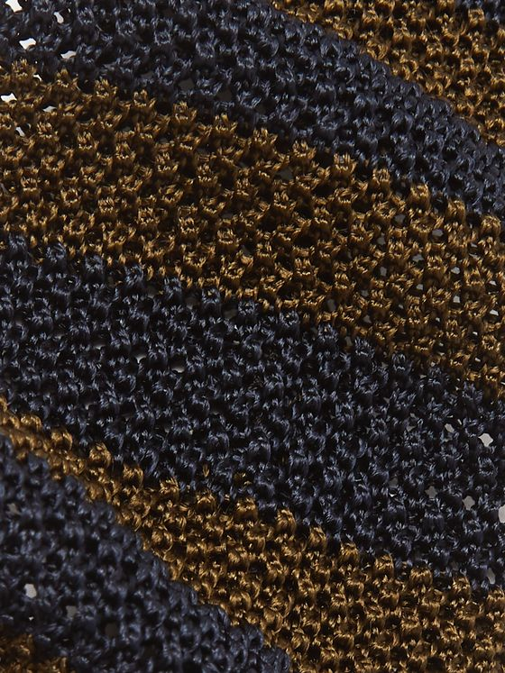 Rubinacci 7.5cm Striped Knitted Silk Tie