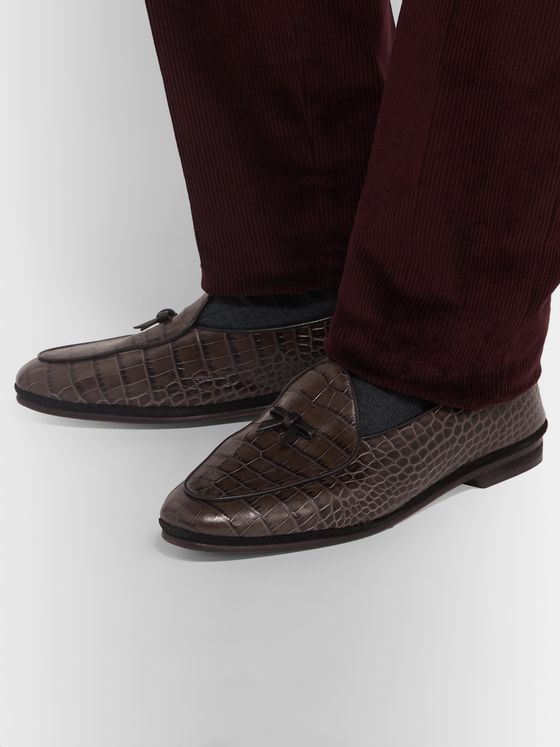 Rubinacci Marphy Croc-Effect Leather Tasselled Loafers