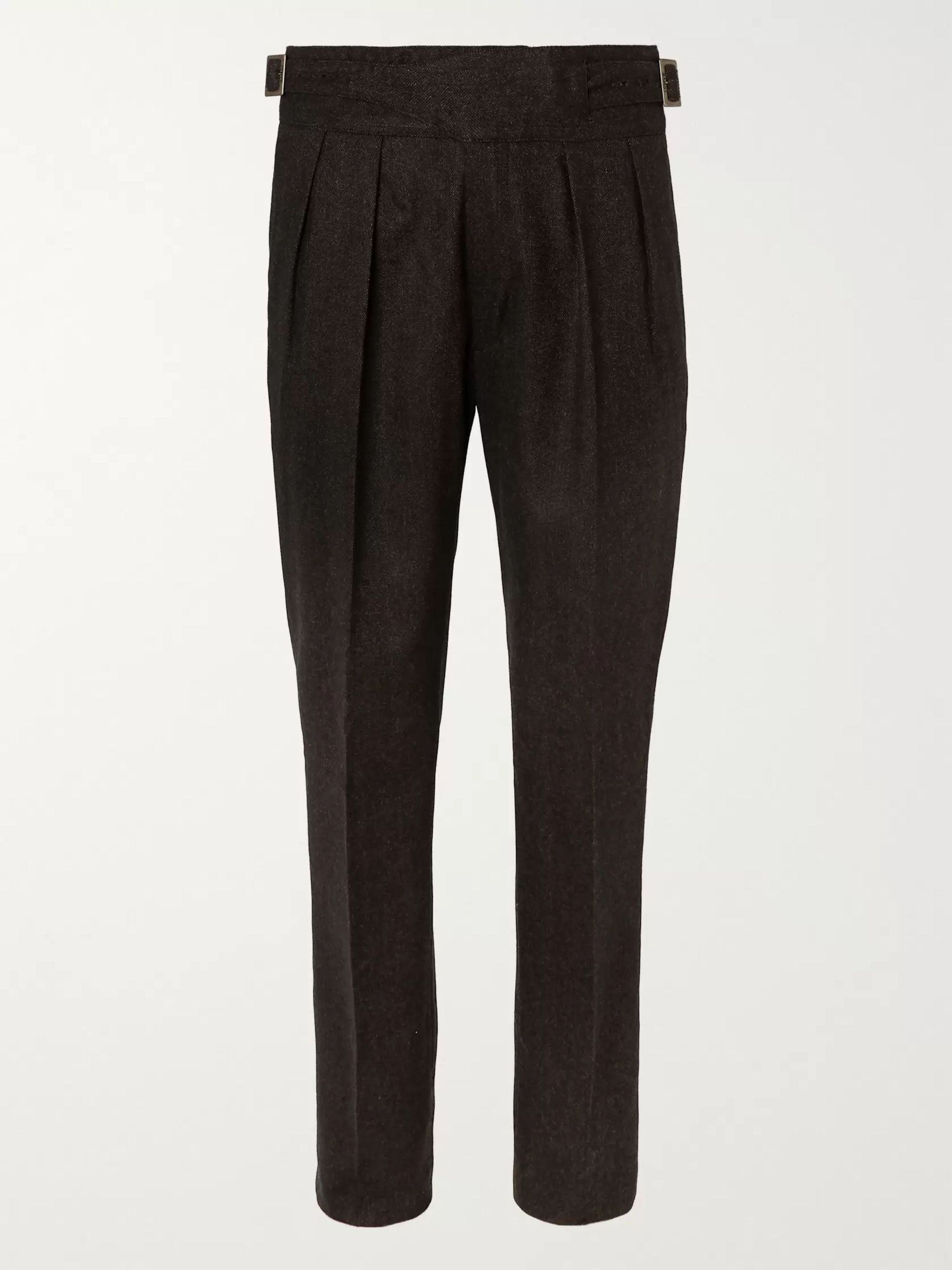 Rubinacci Manny Navy Tapered Pleated Stretch-Virgin Wool Twill Trousers