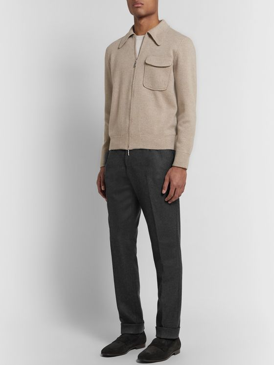 SAMAN AMEL Dark-Grey Pleated Wool-Twill Trousers