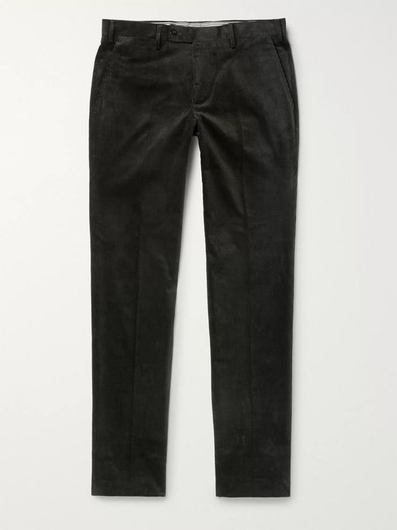 Rubinacci Luca Slim-Fit Tapered Cotton-Blend Corduroy Trousers
