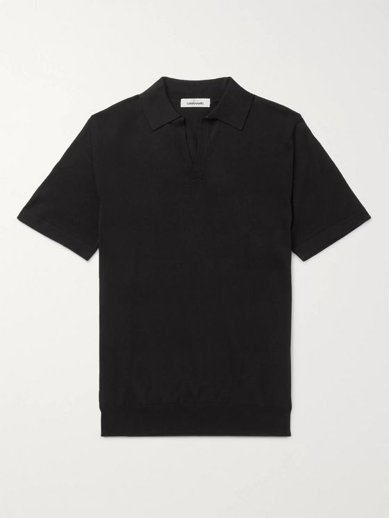 Saman Amel Slim-Fit Mercerised Cotton and Silk-Blend Polo Shirt
