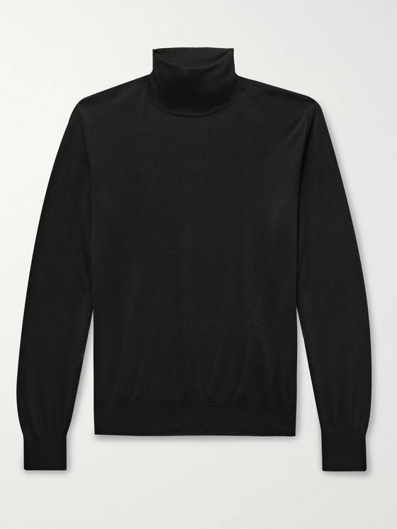SAMAN AMEL Cashmere and Silk-Blend Rollneck Sweater