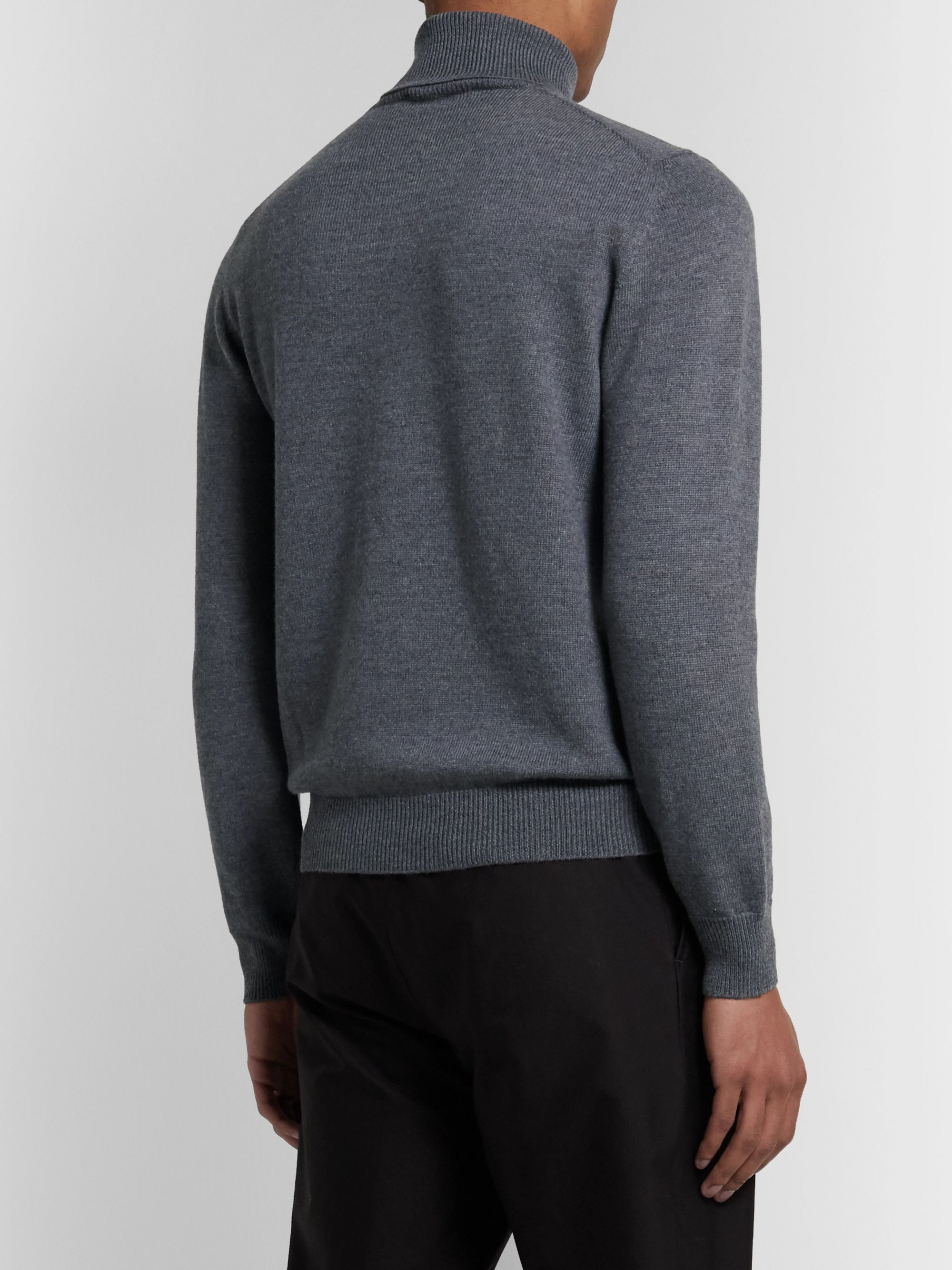 Dark Gray Mélange Merino Wool Rollneck Sweater | Saman Amel