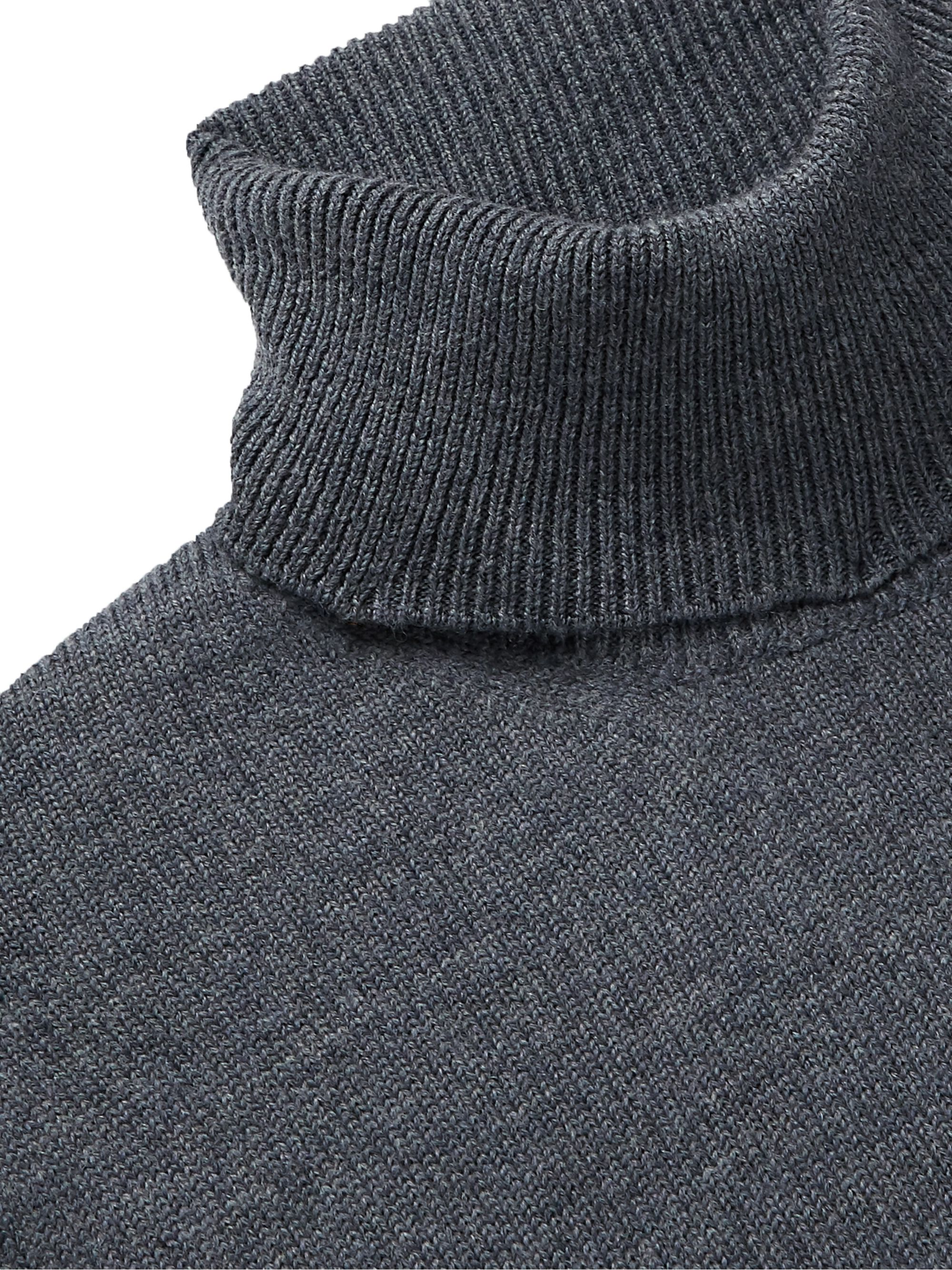 Dark Gray Mélange Merino Wool Rollneck Sweater | Saman Amel