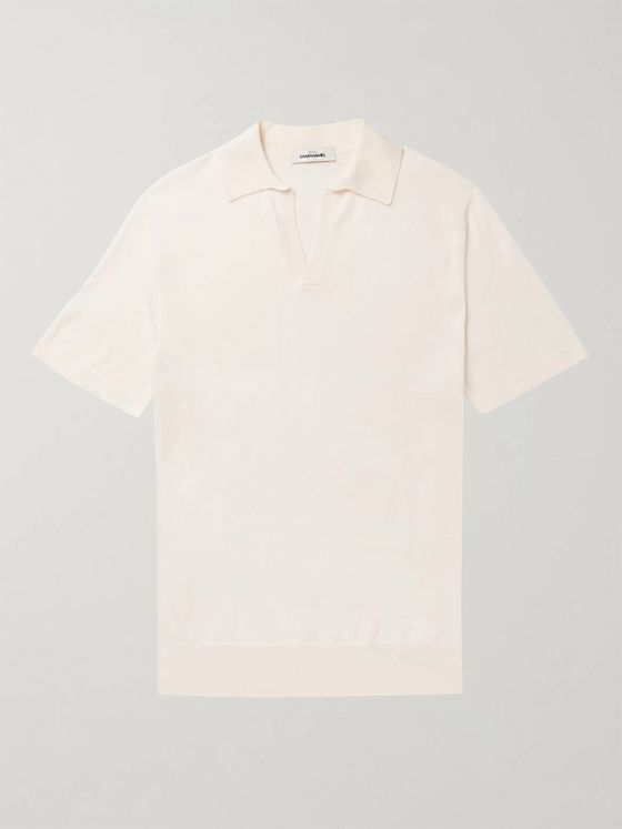 Saman Amel Mercerised Cotton and Silk-Blend Polo Shirt
