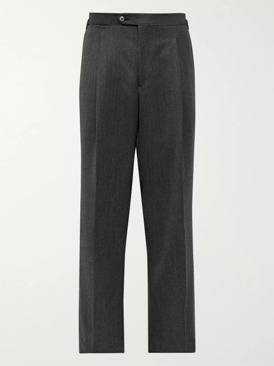 SAMAN AMEL Charcoal Wide-Leg Pleated Mélange Wool-Twill Trousers
