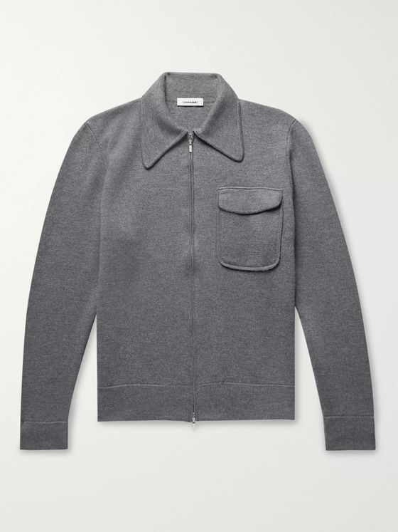 Saman Amel Slim-Fit Mélange Merino Wool Zip-Up Cardigan