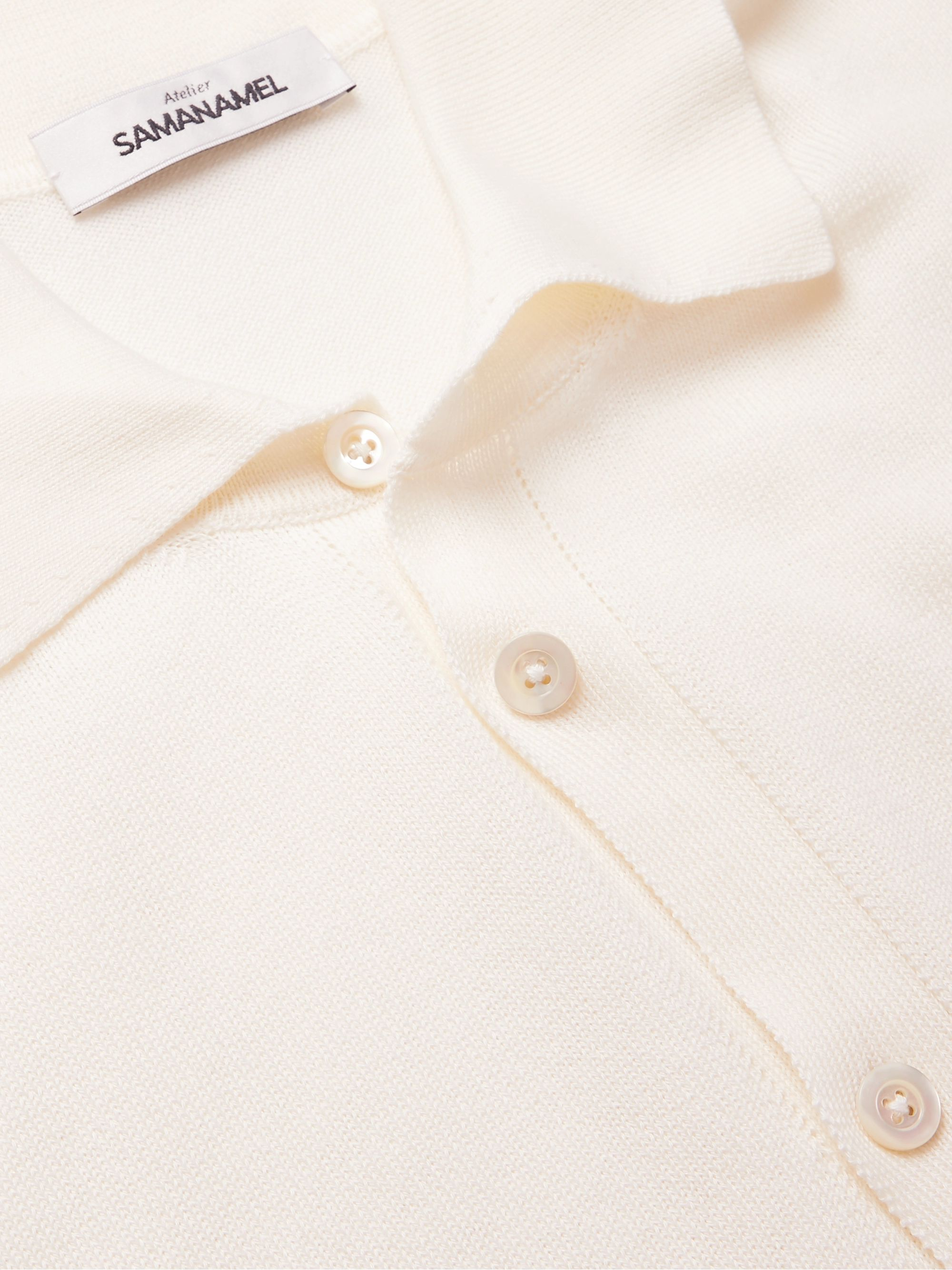 SAMAN AMEL Slim-Fit Cotton and Silk-Blend Polo Shirt