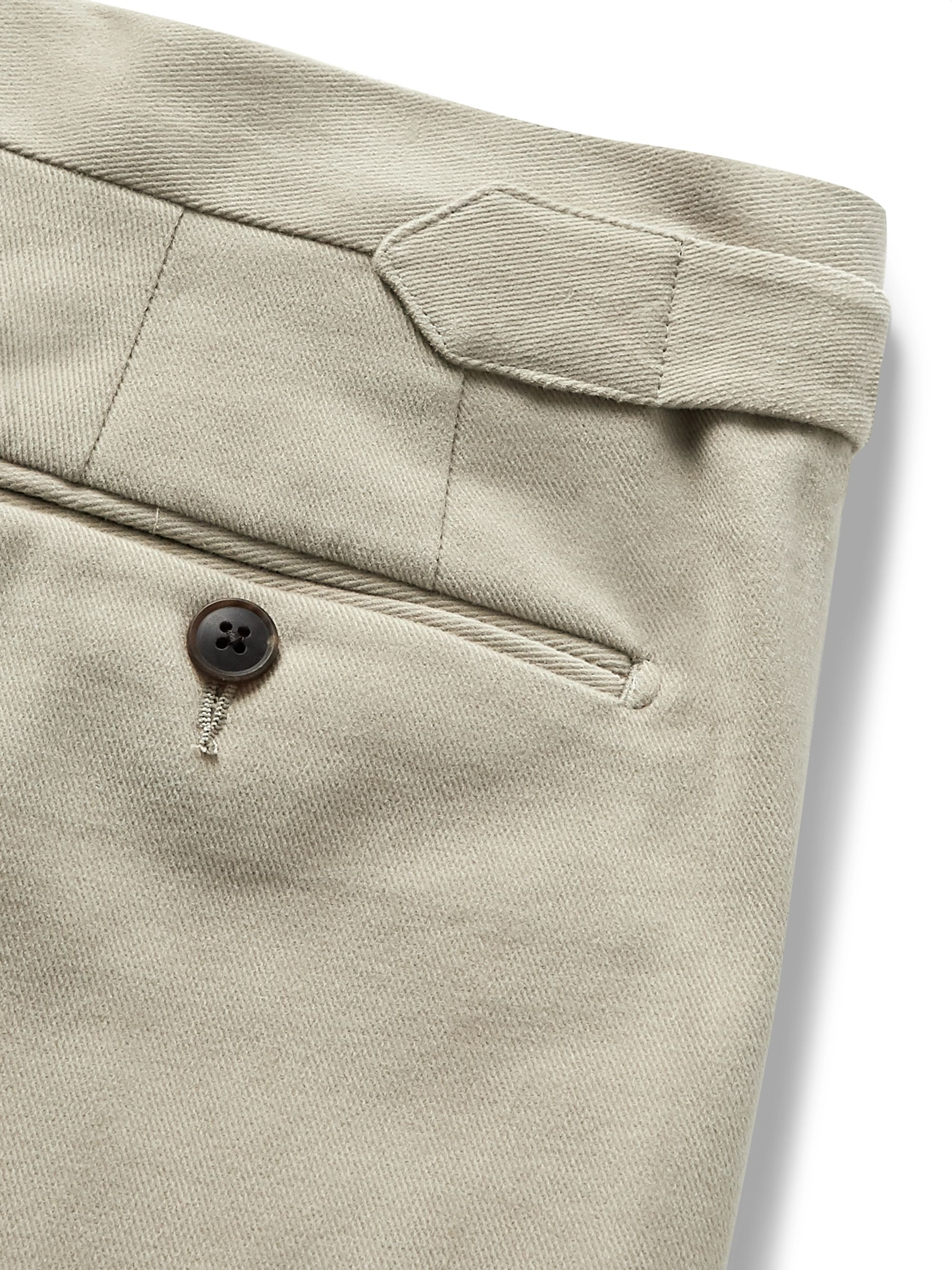 Saman Amel Beige Pleated Wool-Twill Trousers