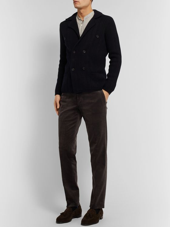 Rubinacci Double-Breasted Ribbed Cashmere Cardigan