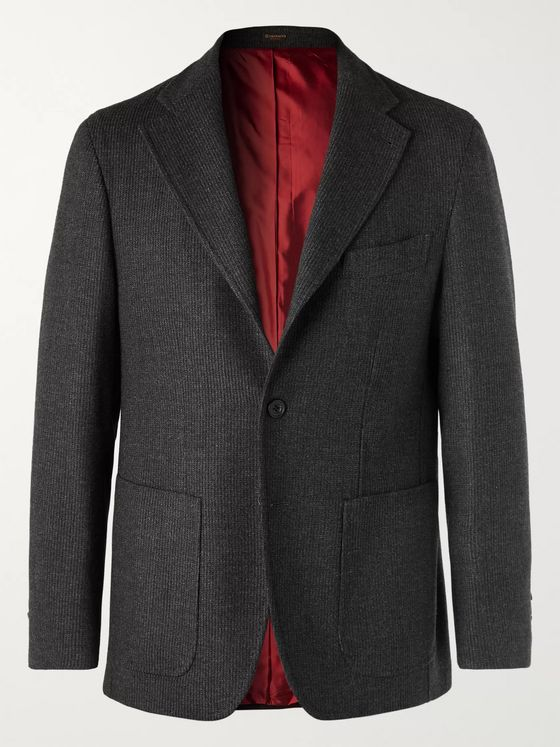 Rubinacci Charcoal Slim-Fit Ribbed Virgin Wool-Blend Blazer