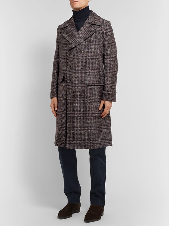 Rubinacci Double-Breasted Houndstooth Virgin Wool, Linen and Cashmere-Blend Overcoat