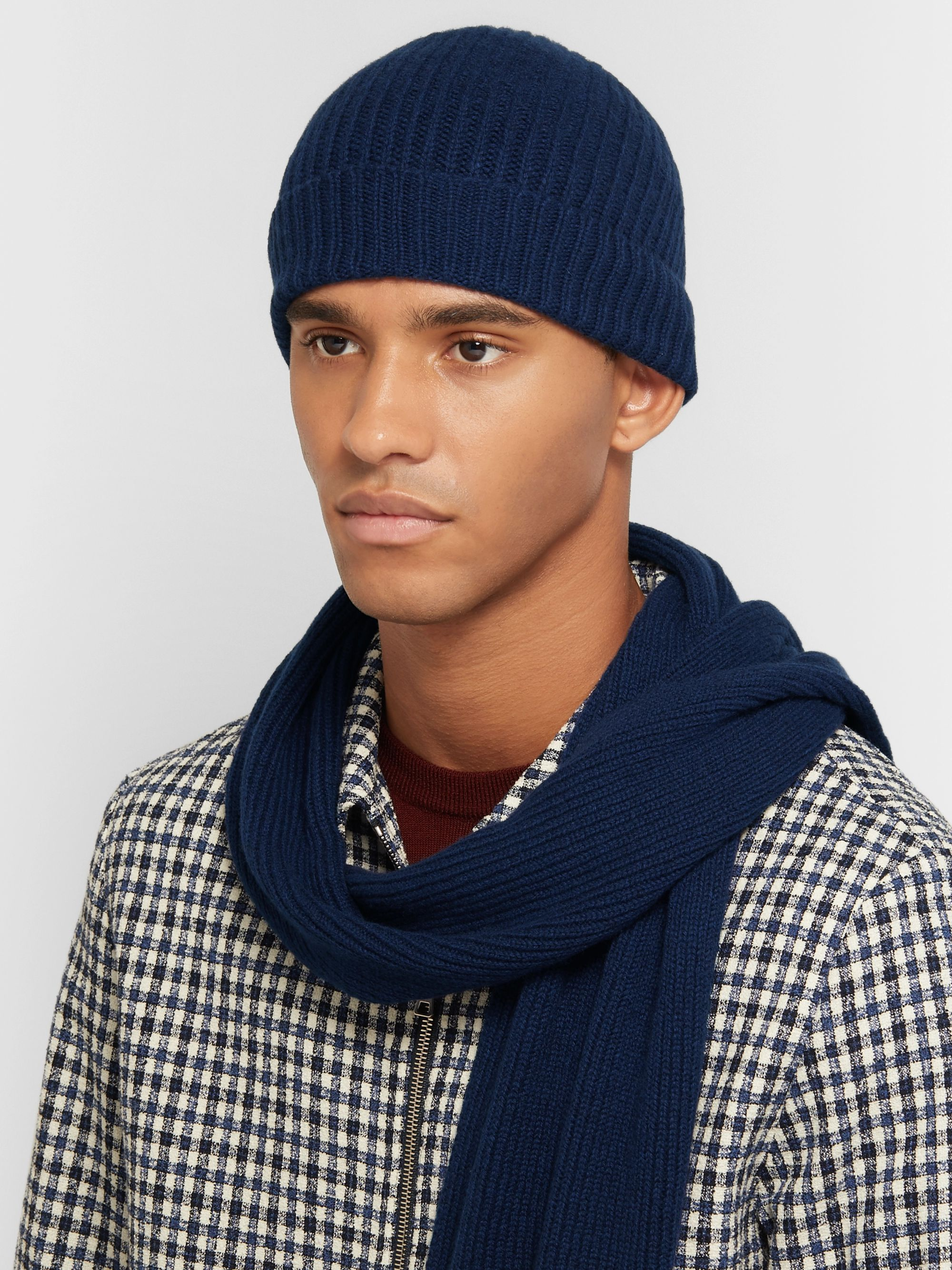 William Lockie Ribbed Cashmere Beanie and Scarf Set