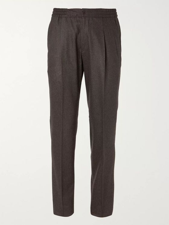 Rubinacci Green Pleated Wool and Cashmere-Blend Flannel Suit Trousers