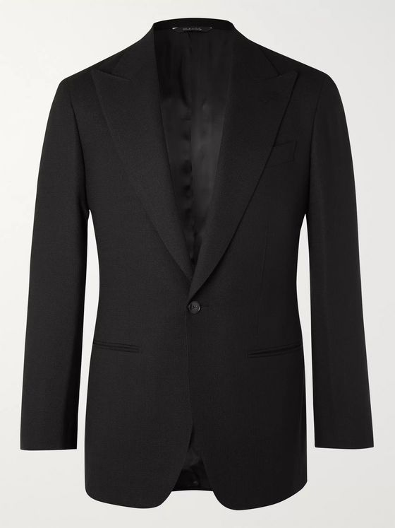 Saman Amel Black Slim-Fit Wool-Hopsack Tuxedo Jacket